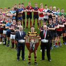 Just champion: Pictured at the launch of the Schools' Cup are the 1st XV captains from each of the 33 schools competing in tournament, along with Lewis McCallan (Danske Bank) and Graffin Parke (Ulster Branch President)