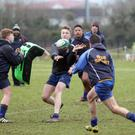 Having a ball: Bangor Grammar's Conor Lusty releases the ball during training