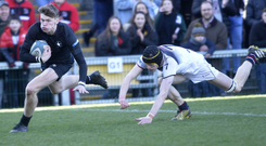 Striding clear: Michael Campbell breaks through for his try