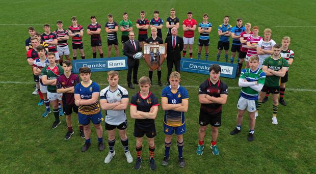 Cup trail: Pictured at the launch of the 2018-19 Danske Bank Ulster Schools' Cup are the 1st XV captains of the participating teams along with Richard Caldwell, Managing Director of Personal Banking and Small Business at Danske Bank, Rex Tinsley, captain of reigning champions Campbell College, and Stephen Elliott, IRFU Ulster Branch President