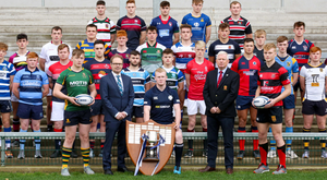 Bank on it: Pictured at the launch of the 2019-20 Danske Bank Ulster Schools' Cup are the 1st XV captains of the participating teams along with Richard Caldwell, Managing Director of Personal Banking and Small Business at Danske Bank; Adam Reid, captain of reigning champions, Methodist College; and Philip Gregg, IRFU Ulster Branch Senior Vice-President