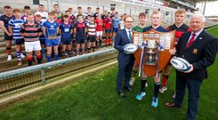 Here we go: Pictured at the launch of the 2019-20 Danske Bank Ulster Schools' Cup are the 1st XV captains of the participating teams along with (from left) Richard Caldwell, Managing Director of Personal Banking and Small Business at Danske Bank; Adam Reid, captain of reigning champions Methodist College; and Philip Gregg, IRFU Ulster Branch Senior Vice-President