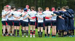 United front: Coleraine Grammar ahead of their clash with Belfast High School which confirmed their place in the last 16 of the Schools cup.