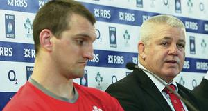Disappointing day: Warren Gatland with Wales captain Sam Warburton at the post-match press conference