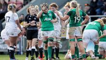 Simply outclassed: Ireland's Ciara Griffin shows her dejection following a first defeat of the 2020 Women's Six Nations