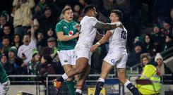 Crucial try: England's Henry Slade (right) and Manu Tuilagi