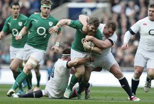 Blocked route: Gordon D'Arcy is double tackled at Twickenham