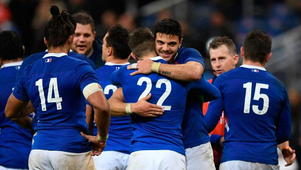 Promising signs: Romain Ntamack of France celebrates with team-mates after their opening victory over England