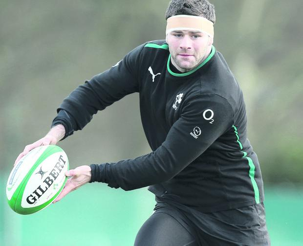 Fergus McFadden is in the thick of the action at Ireland training at Carton House, Maynooth yesterday