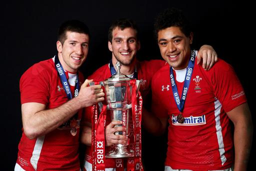 CARDIFF, WALES - MARCH 16: The Wales back row of Justin Tipuric, Sam Warburton and Toby Faletau pose with the Six Nations trophy following his team's victory during the RBS Six Nations match between Wales and England at Millennium Stadium on March 16, 2013 in Cardiff, Wales. (Photo by Michael Steele/Getty Images)