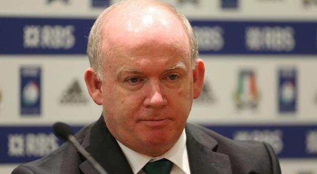 Ireland coach Declan Kidney speaks to the media after the RBS Six Nations match at the Stadio Olimpico, Rome, Italy