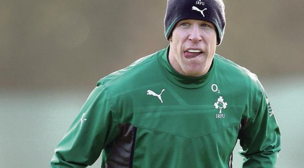 Joe Schmidt delivers a rallying call to his Ireland players during training
