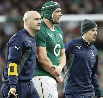 Painful exit: Dan Tuohy leaves the pitch at the Aviva Stadium on Saturday afternoon after suffering his injury