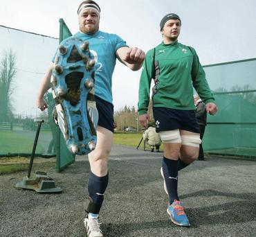 Cian Healy and Iain Henderson arrive for training yesterday ahead of tomorrow's Six Nations clash with Italy