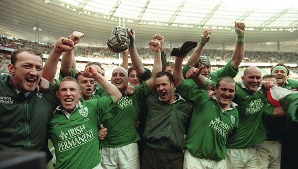 History boys: The Ireland class of 2000 celebrate their win in Paris