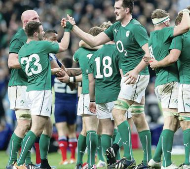 Fergus McFadden (left) celebrates with Devin Toner as the final whistle confirms Ireland's Six Nations championship win