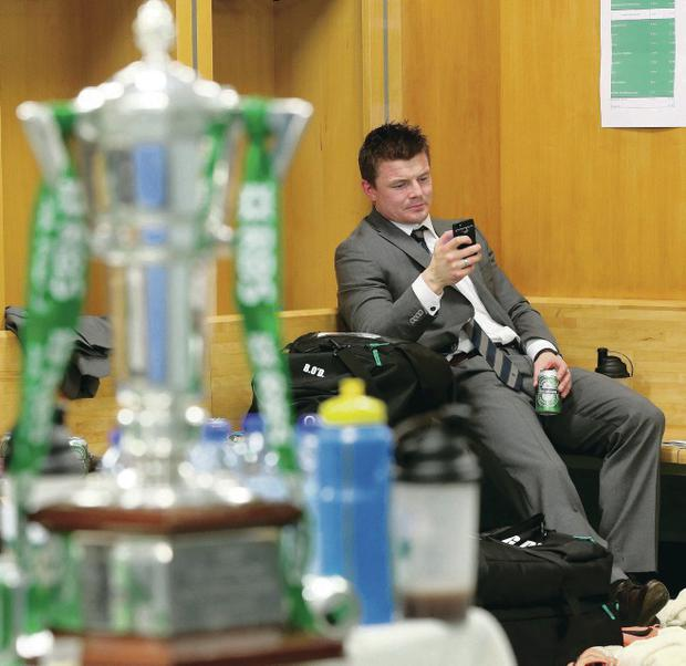 Ireland's Brian O'Driscoll in the dressing room after the game