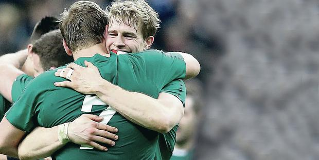 Double delight: Andrew Trimble and Ulster team-mate Chris Henry were among Ireland's stand-out performers in the Six Nations
