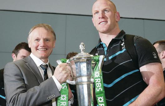 Silver lining: Joe Schmidt and Paul O'Connell show off the trophy