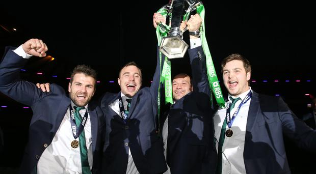 The pride of Ulster: Jared Payne, Tommy Bowe, Rory Best and Iain Henderson celebrate Ireland's Six Nations success