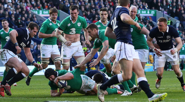 To the four: Sean O'Brien goes over for Ireland's fourth try