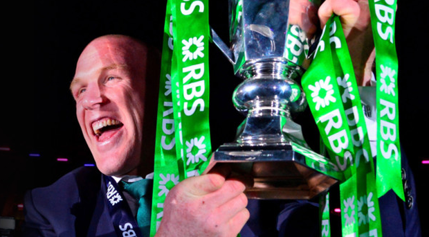 Ireland captain Paul O'Connell with the silverware
