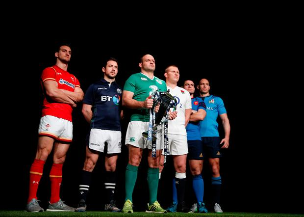 Six of the best: Wales' Sam Warburton, Scotland's Greg Laidlaw, Ireland's Rory Best holding the trophy, England's Dylan Hartley, France's Guilhem Guirado and Italy's Sergio Parisse during the official launch of the 2016 Six Nations International rugby tournament at the Hurlingham Club
