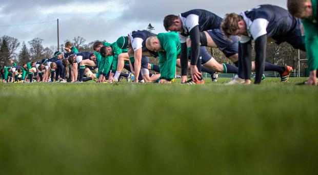 On your marks: the Ireland squad gear up in training ahead of the defence of their Six Nations crown, which begins against Wales at the Aviva