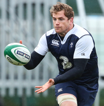 Pass master: Jamie Heaslip in training yesterday