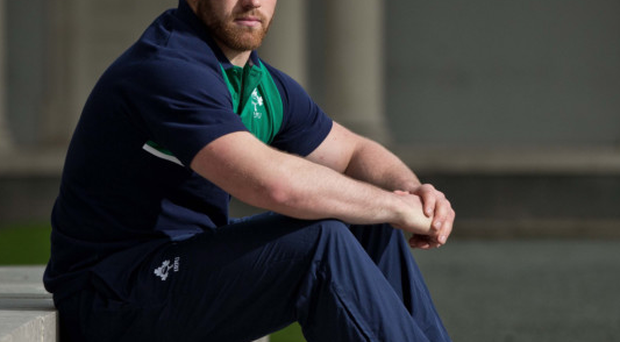 Rest and play: Sean O'Brien takes a break from Ireland training at Carton House, Co Kildare yesterday