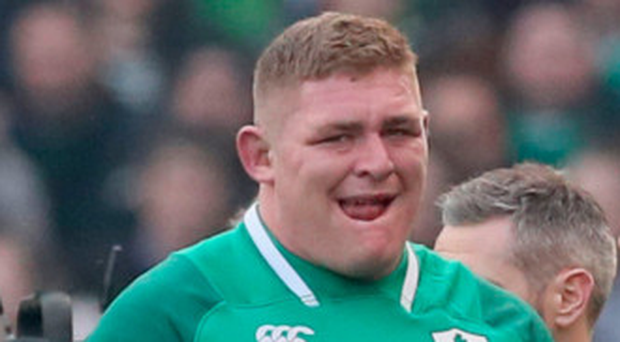 Upbeat: Tadhg Furlong came off injured against Italy