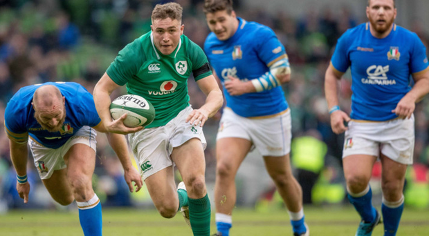 Up and down: Jordan Larmour had some good and bad moments on his debut against Italy