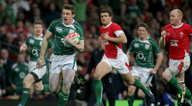 Grand times: Tommy Bowe on his way to scoring a try against Wales back in 2009