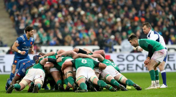 Pulling the strings: Conor Murray watches over a scrum during Ireland's opening Six Nations clash against France in Paris