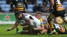 Pitching in: Ulster ace Marty Moore in action in pre-season against Wasps before getting injured