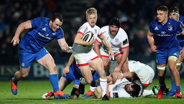Gripping stuff: Ulster's Dave Shanahan in action against Leinster at the RDS in December