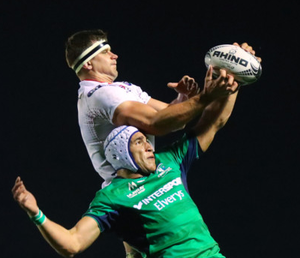 Bruising battle: Ulster's Robbie Diack and Ultan Dillane of Connacht