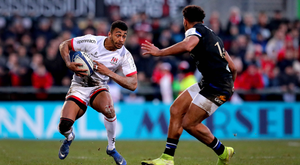 Rising star: Robert Baloucoune in action for Ulster against Bath last Saturday when he grabbed a try