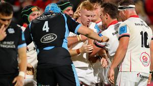 Dreamland: Nathan Doak (centre) is mobbed by his Ulster team-mates following his try in Friday's win over Glasgow. Credit: INPHO/James Crombie