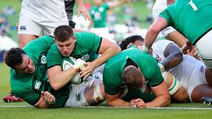 Nick Timoney scores a try on his one and only Ireland cap to date against the USA over the summer