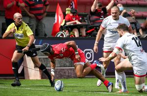 Touching down: Toulouse winger Cheslin Kolbe scores a try against Ulster during last season's European quarter-final