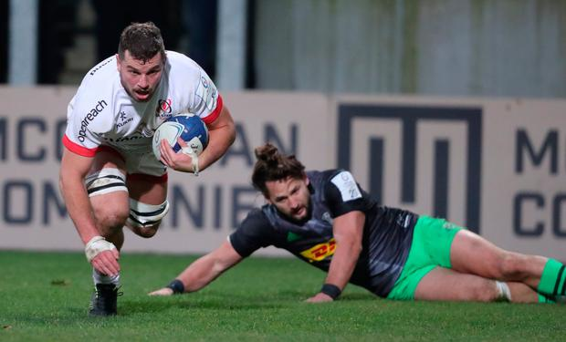 Sean's show: Ulster's Sean Reidy scores a try as Harlequins' Michele Campagnaro looks on
