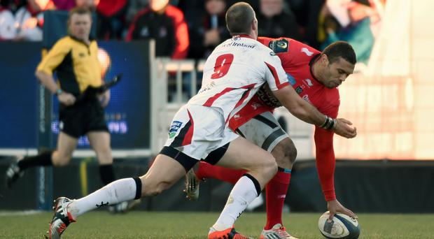 Touching down: Toulon's Bryan Habana crosses the line at the Stade Mayol as Ruan Pienaar's tackle arrives just too late