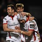 Season's first: Luke Marshall grabbed Ulster's second try