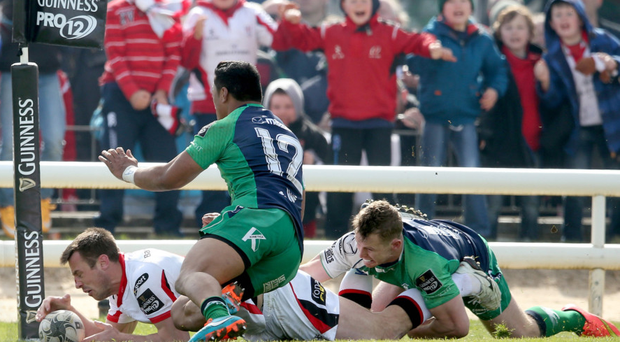 Going over: Tommy Bowe scores one of his two tries in Ulster's victory over Connacht