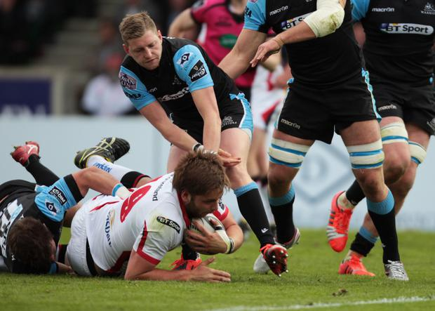 Ground force: Ulster's Iain Henderson proves a handful for Glasgow at Scotstoun
