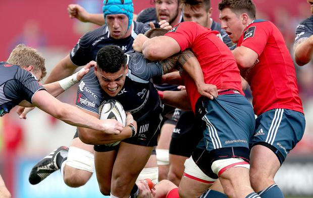 Close encounter: Josh Matavesi's last-minute effort for Ospreys was ruled out, much to the relief of Munster