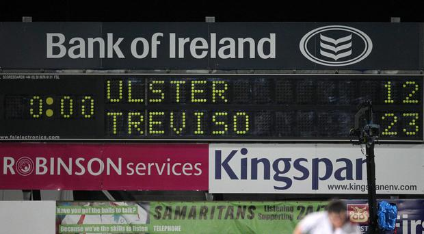 Warning sign: A flashback to the scoreline in 2011 shows that Treviso are no strangers to upsetting the odds against Ulster