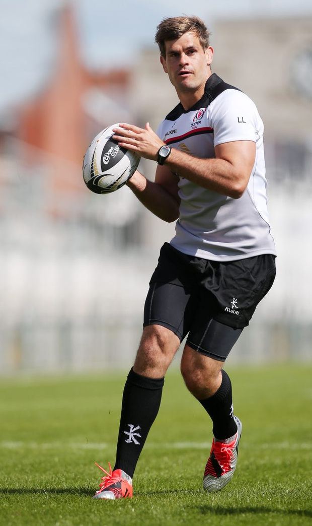 20 August 15 - Picture by Darren Kidd / Press Eye. Ulster's Louis Ludik during captain's run ahead of Friday night's pre-season friendly match against Leinster at Kingspan Stadium (kick off 19:30).