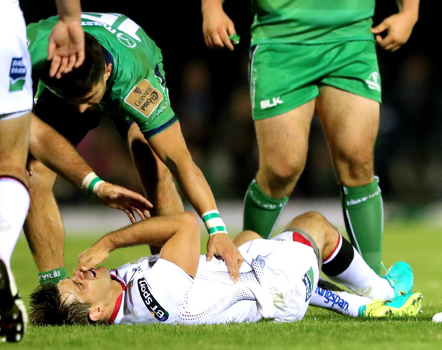 Down and out: Louis Ludik suffered a broken cheekbone in last Friday's game with Connacht and will now be missing for four to six weeks